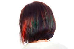 Female hair style with colorful strands behind picture Royalty Free Stock Photos