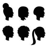Female haircut simple silhouette set Stock Photos