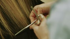 Female hairdresser hands cutting hair tips. Cloesup stock footage