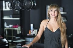 A female Hairdresser portrait looking confidence royalty free stock images