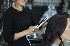 Female Hairdresser Setting Up Client`s Hair In Beauty Salon Royalty Free Stock Image