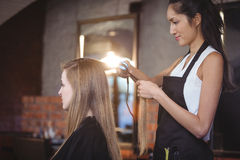 Female hairdresser straightening the hair of a client Royalty Free Stock Photos