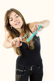 Female hairdresser using comb and scissors Stock Photography