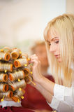 Female hairdresser working Royalty Free Stock Photography