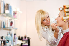 Female hairdresser working Stock Photo