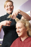 Female Hairdresser Working In Salon Stock Photography