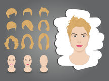 Female hairstyle blond. Hairstyles for women set blond Royalty Free Stock Photos