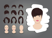 Female hairstyle brown. Hairstyles for women set brown Royalty Free Stock Photo
