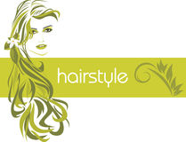 Female hairstyle. Decorative banner Royalty Free Stock Image