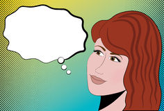 Female Halftone Retro Comic. Female head on a retro halftone background Royalty Free Stock Photo