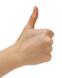 Female hand. Hand of the woman with approving gesture. Isolated on a white background Stock Photo