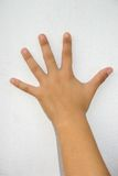 Female hand. A female hand on a white wall isolated Royalty Free Stock Image