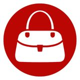Female hand bag circle icon Stock Images
