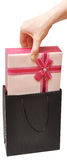 Female hand with beautiful gift box Royalty Free Stock Image