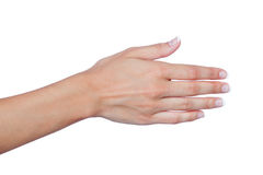 Female hand with beautiful nails extended to greet Royalty Free Stock Photo