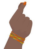 Female hand. Black woman hand with colorful bracelets snaps his fingers, vector illustration Stock Image