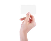 Female hand with a blank Stock Photography