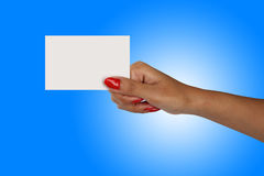 Female hand with a blank card Royalty Free Stock Image
