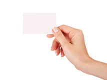 Female hand with a blank card Stock Photos