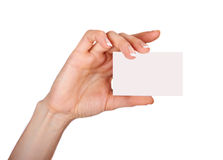 Female hand with a blank card isolated Stock Image