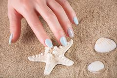 Female hand with blue manicure on finger nails and sea starfish on sandy beach. Young girl hand with blue gently manicure on finger nails and touching sea royalty free stock images