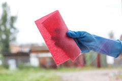 Female hand in blue rubber glove wipes glass. Washes white plast Stock Photo