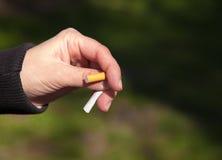 Female hand breaks a cigarette Stock Image