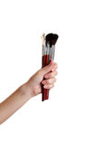 Female hand with brushes Royalty Free Stock Photos