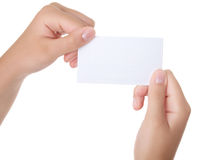 Female hand with a business card Royalty Free Stock Photography