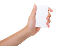Female hand with a business card Stock Photos