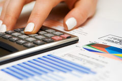 Financial graphs and charts accounting Royalty Free Stock Photo