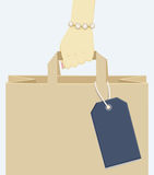 Female hand carrying a shopping paper bag Stock Photos