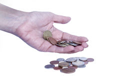 Female hand with coins Royalty Free Stock Photo