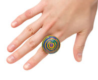 Female hand with colored ring Royalty Free Stock Images