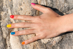 Female hand with colorful trendy manicure Royalty Free Stock Photos