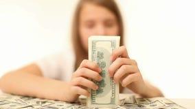 Female Hand Count The Money. Money, Lots Of Hundred Dollar Bills stock video