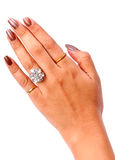 Female hand with diamond ring Royalty Free Stock Image