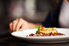 Female hand with a dinner at restaurant Stock Images