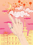 Female hand drawing clouds on the sky. City background. Hand drawn illustration digitally colored Stock Photography