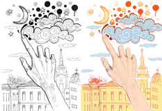 Female hand drawing clouds on the sky Royalty Free Stock Photography
