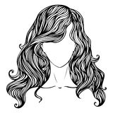Female hand-drawn portrait. Abstract illustration of woman isolated on white background Stock Photography
