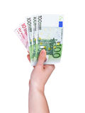 Female hand with euro money Royalty Free Stock Photography