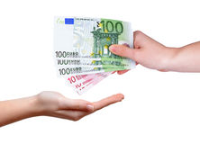 Female hand with euro money Royalty Free Stock Photo
