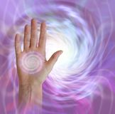 Palm Chakra with Vortex healing energy stock photography