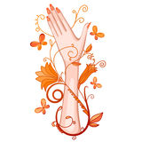 Female hand with flowers and butterflies. Stock Photography
