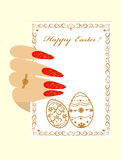 Female hand and frame with Happy Easter Royalty Free Stock Photos