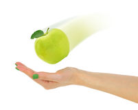 Female hand with fresh green apple Stock Photo