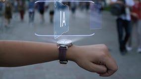 Female hand with hologram AI