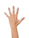 Female hand gesture number five fingers up i Stock Photos