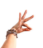 Female hand gesture of oriental dance. Female hand with henna pa Stock Photos